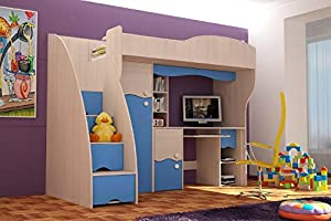 Brand New Kids Children Bedroom Cabin Bunk Bed DREAM with stairs and computer desk in Ash/Blue sold by Arthauss