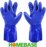 HOMEBASE® Chemical Resistant Heavy Duty PVC Rubber Safety Gloves for Acid Oil - Blue Medium
