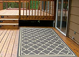 Ottomanson Jardin Collection Natural Moroccan Trellis Design Indoor/Outdoor Jute Backing Area Rv Patio Mat Rug, 5\'3\