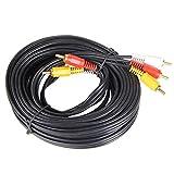 SODIAL(R) 3RCA-3RCA ビデオケーブル/AVケーブル/AVコード 3ピン-3ピン (ブラック,20m)