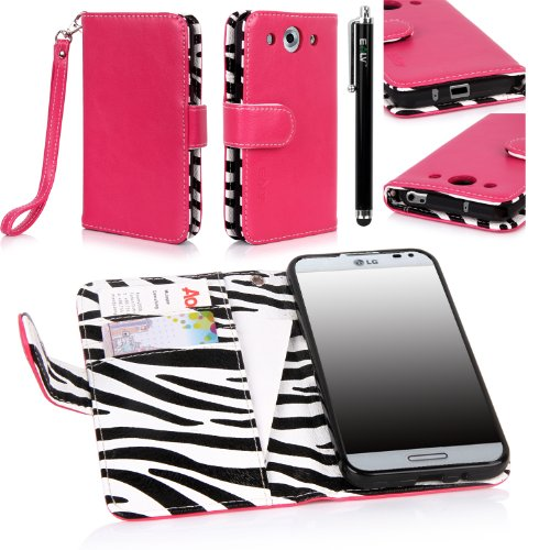 Lg Optimus G Pro Case, E Lv Lg Optimus G Pro E940 / E980 Deluxe Synthetic Leather Flip Folio Wallet Case Cover With Premium Interior Design For Lg Optimus G Pro E940/E980 With 1 Stylus (Hot Pink)