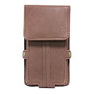 J Cover A6 Nillofer Series Leather Pouch Holster Case For Panasonic Eluga I2 (3GB RAM, 16GB)  Dark Brown