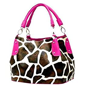 Fuschia Vicky Giraffe Print Faux Leather Satchel Bag Hand Shoulder Tote Bag Animal Purse