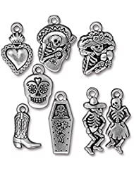 TierraCast 8 Piece Day Of The Dead Mix Charms, Antique Silver