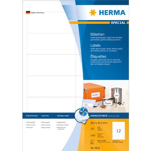 Etiquettes jet d'encre blanc 96,5x42,3  InkPrint Sp.1200 pcs HERMA 4816