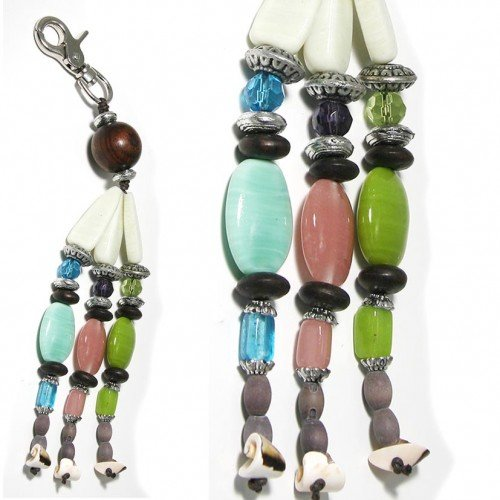 SG PARIS KEY HOLDER GLASS BEADS CREAM MULTICOULEUR OTHER FASHION ACCESSORIES KEY CHAIN GLASS BARGAINS WOMEN ZOTHER BASIC FASHION JEWELRY / HAIR ACCESSORIES OVAL