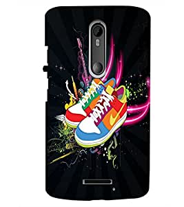 PrintDhaba Shoes D-4024 Back Case Cover for MOTOROLA MOTO X3 (Multi-Coloured)