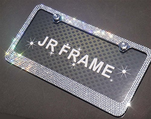 JR2 Popular Bling 7 Row White/Clear Color Crystal Metal Chrome License Plate Frame With Screw Cap (License Plate Frames Rhinestones compare prices)