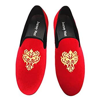 Men's Vintage Velvet Embroidery Noble Loafer Shoes Slip-on Loafer Smoking Slipper Black/Red/Blue