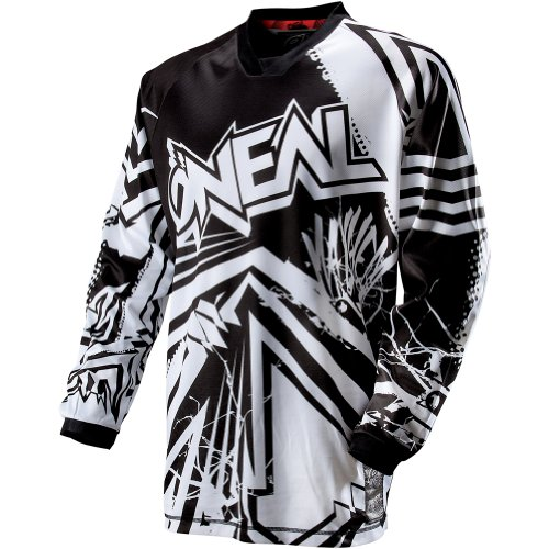 O'Neal Racing Mayhem Roots Men's Off-Road/Dirt Bike Motorcycle Jersey – Black/White / Small