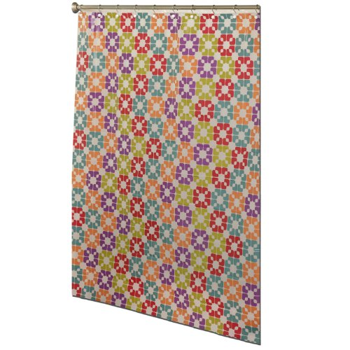 Zenith Products Del1942461 Dells Decorative Shower Curtain With Geometric Shapes, Multi-Color front-800595