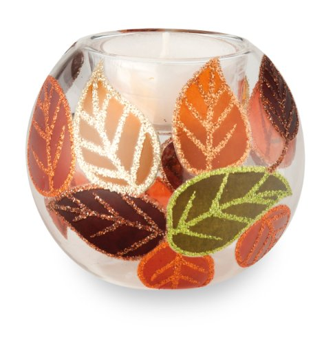 October Hill Decorative Hand-Painted Glass Tealight Candle Holder, Leaf