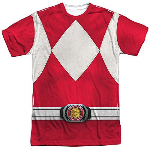 Power Rangers Children's Live Action TV Series Red Costume Adult Front Print Tee