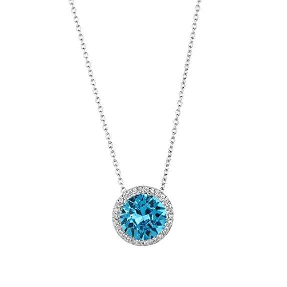 Aquamarine Crystal Halo Pendant -- $22