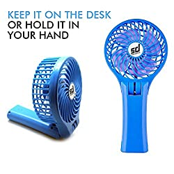 Smiledrive MINI USB FAN Mini Storm Multi Utility Handheld/Table Fan With Inbuilt 4000MAH Power Bank & Foldable Stand/Handle Design,Blue