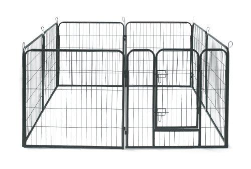 Allmax Dog Crates Kennels Metal Pets Fence 8 Panel Black