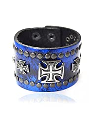 Bikers Blue Jeans Print Genuine Leather Cross Bracelet For Men By Via Mazzini