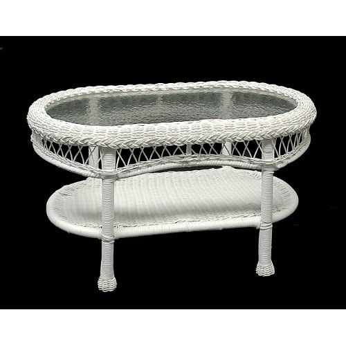 31 saratoga oval glass top white resin wicker coffee table patio lawn garden White wicker coffee table