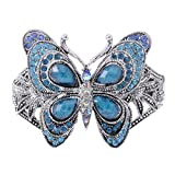 Alilang Silvery Tone Iridescent Sapphire Colored Rhinestones Butterfly Cuff Bracelet