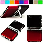 Durable Protective Two Tone Rubberized Crystal Hard Case Cover with Stand Alone Kickstand for Apple iPod Touch 4th Gen (8GB 16GB 32GB), Black with Red