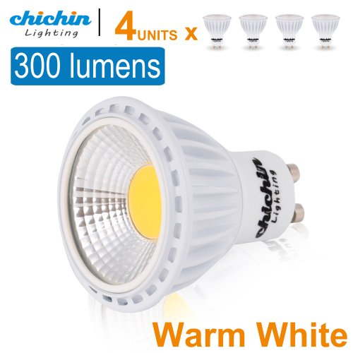 Chichinlighting® Pack Of 4 Units Cob Led Gu10 Bulbs 3 Watts 300 Lumens Super High Efficient Highest Lumens/Watt Warm White 45 Degree Lighting Angle