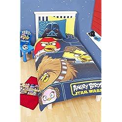 Disney - Lenzuola per bambini, 50% cotone, 50% poliestere, per letto singolo, Angry Bird, Singolo
