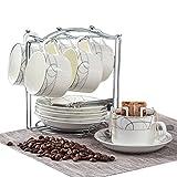 SYホーム SY-homeティー コーヒー兼用 カップ&ソーサー 6客 150cc 陶器 匙付き