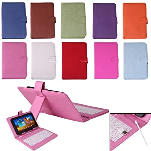 "HDE® Hard Cover Case with Keyboard for 7"" Tablet - Pink"