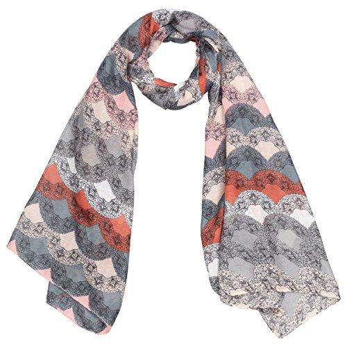 Lace Borders Sciarpa da Donna Codello sciarpa da donna sciarpa da donna Taglia unica - grigio