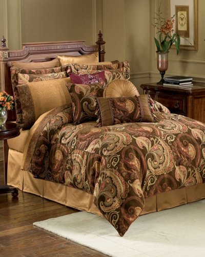 Great Deal! Croscill Home Fashions Burgess 4-Piece King Comforter Set, Cognac
