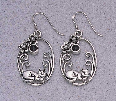 Resting Cat with Onyx in Oval Earrings