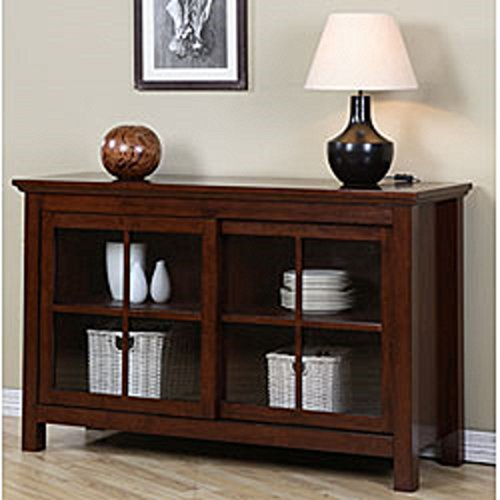 Delightful Walnut Cherry Sliding Door Buffet, This Buffet Table Features A Warm Walnut  Cherry Finish And Sliding Glass Doors. This Credenza Buffet Also Has  Adjustable ...