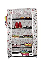 Styleys Homelike 5 Layer Multipurpose Portable Folding Shoe Rack / Shoe Shelves / Shoe Cabinet with wardrobe cover, Easy Installation Stand For Shoes - Flower (60 cms X 30 cms X 90 cms)