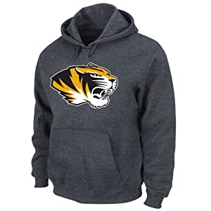 NCAA Missouri Tigers Conquest Charcoal Heather Long Sleeve Hooded Fleece Pullover By... by Majestic