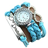 One Direction Diamond Watch Charm Bracelet+Infinity+One Direction+Leather COOL BLUE