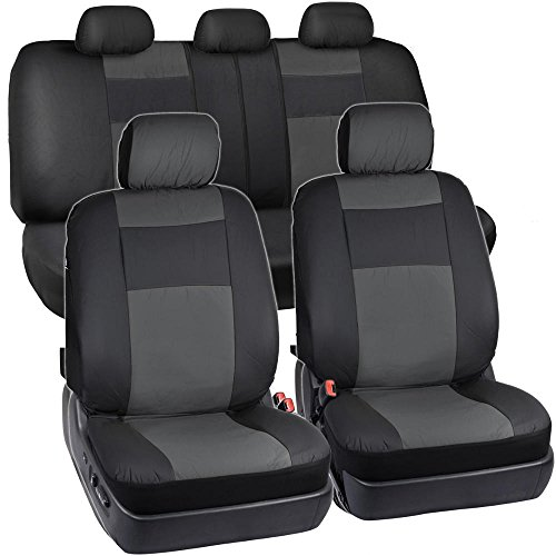 Black & Charcoal Gray Synthetic Leather Seat Covers for Car SUV Auto Two Tone Style (Leather Seats For Silverado compare prices)