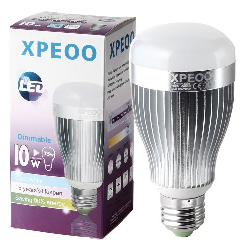 Xpeoo® Dimmable 13W(95W) 10W(75W) 7W(60W) Led Household A19 Daylight White 5500-6000K Light Bulb, Energy Saving Lamp(Effect Of Philips) (980Lm/10W=75W)