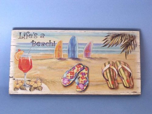 """Wooden Life'S A Beach Sign 14"""" Beach Bedroom Decor Nautical Themed Rooms - Brand"""