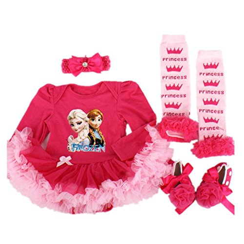Starkma 4PC/LOT Elsa Newborn Infant Baby Girl Set Clothe Long Sleeve Cake Dress F01
