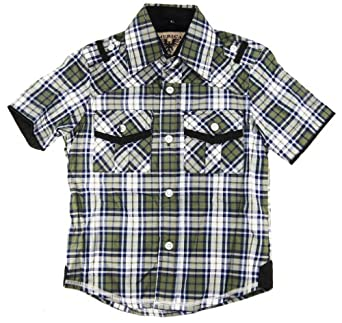American Heritage Little Boys' Ultimate Comfort Plaid Dress Shirt 3T green