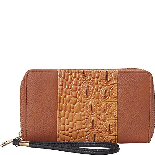 rebecca-rifka-faux-leather-croco-panel-double-zip-wallet-cognac-black
