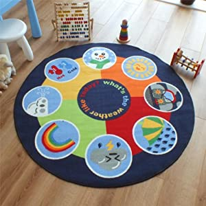 Superb Kids / Childs Rug Weather wheel Large Round 1.33m x 1.33m (4'4 x 4'4 approx) from The Good Rug Company