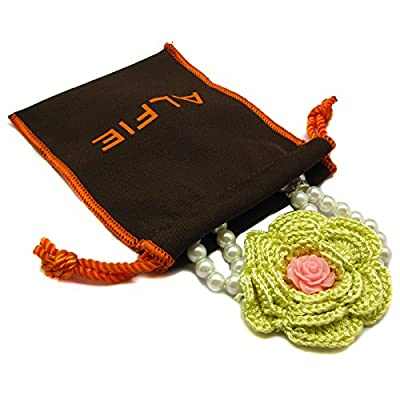 Alfie Pet by Petoga Couture - Senna Floral Double Layer Pearl Necklace for Dogs and Cats with Fabric Storage Bag, Color: Yellow Flower