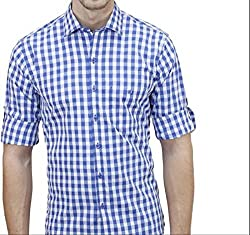 UNIXX Men's Casual Shirt (UXXS-08_Blue_42)