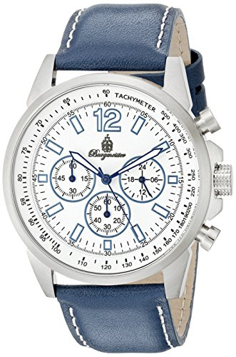 Burgmeister Men's Quartz Watch with White Dial Chronograph Display and Blue Leather Bracelet BM608-183