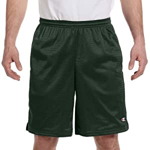 Champion 3.7 oz. Long Mesh Shorts with Pockets - ATHLETIC DARK GREEN - L