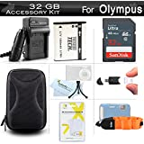 32GB Accessories Kit For Olympus Stylus Tough TG-820 IHS TG-830 IHS TG-630 IHS TG-860 TG-870 Digital Camera 32GB High Speed SD Memory Card + Replacement LI-50B Battery + Charger + Case + More