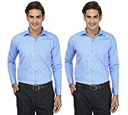 FOCIL Sky Blue Formal Wear Combo Shirt for Men (Pack of 2)