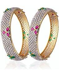 Alysa Blaisdell Gold & Rhodium Plated Ruby & Emerald Bangles Set