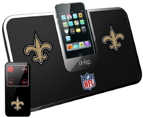 Ihip Official Nfl - New Orlean Saints - Portable Idock Stereo Speaker With Wireless Remote Nfv5000Nos